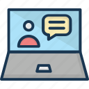 chat bubble, laptop, video call, video chat, video conference icon