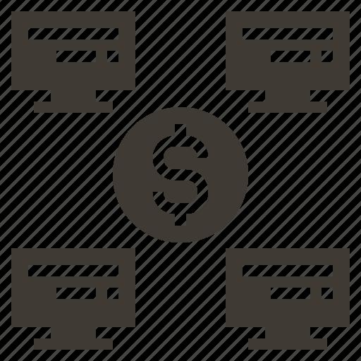 commerce, connection, digital, management, market, marketing, solid icon