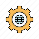 content, gear, globe, setting, world icon