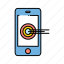 bullseye, device, mobile, target icon