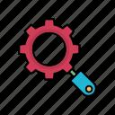 gear, marketing, search, setting icon