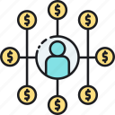 affiliate marketing, finance, income, networking, referral icon