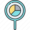 analysis, magnifying glass, pie chart icon