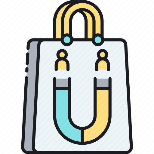 attraction, brand engagement, shopping bag, target market icon
