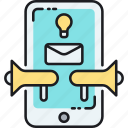email, loudspeaker, marketing, mobile, smartphone icon