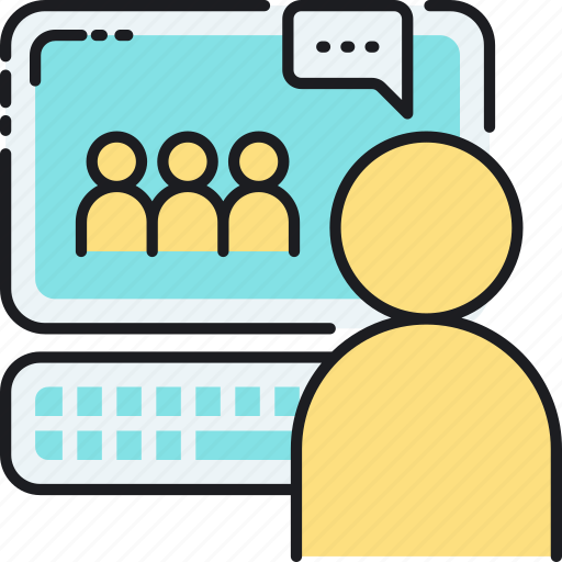 chat, classroom, community, forum, group, online, webinar icon