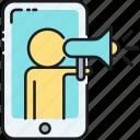 online, pr, loudspeaker, megaphone, petition, protest, shoutout icon