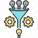 brainstorming, funnel, funnel hacking, funneling, refinement, sales funnel icon