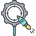 aim, focus, goal, optimization, rocket, seo, target icon