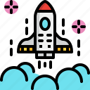 business, marketing, rocket, space, startup icon