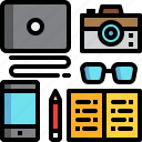 camera, equipment, glasses, laptop, note, notebook icon