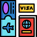 boarding pass, passport, ticket, transportation, travel, vacation, visa icon