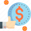 coin, cost, good, ilke, living, money, thumb up icon