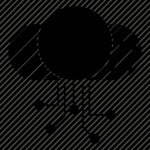 circuit, cloud, data, digital icon
