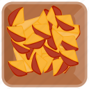 fibre fruit, fruit bowl, fruits, peach, sliced peach icon