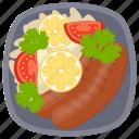 breakfast sausage, dinner food, hot dog, protein diet, sausage salad