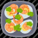 baked prawns, cooked prawns, fried prawns, seafood, shrimps icon