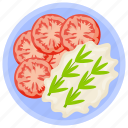 fresh salad, salad, stir tomatoes, tomato cream, tomato salad icon