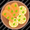 raw salmon, salmon, salmon platter, seafood, smoked salmon icon