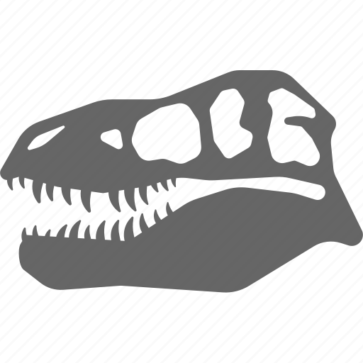 bone, dinosaur, fossil, rex, skeleton, skull, t icon