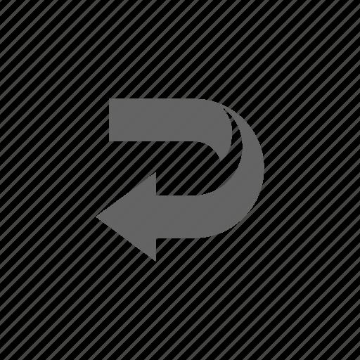 arrow, direction, return, turning icon