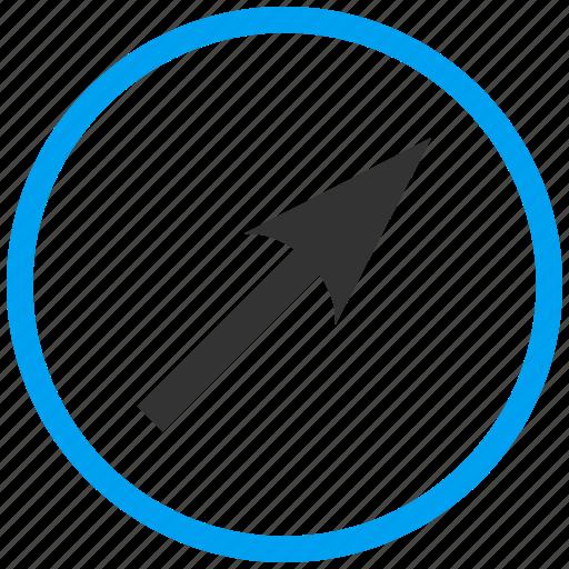 compass arrow, cursor, move, navigate, navigation, pointer, up right icon