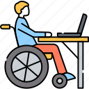 disabled, worker, laptop, office, disability