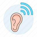 deaf, disability, ear, hearing, impairment, loss, sound, wave icon