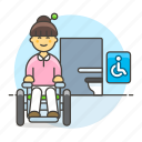 accessible, aid, disability, disable, disabled, female, impairment, mobility, toilet, wheelchair icon