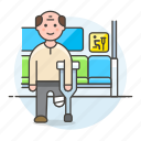 aid, inside, seat, impairment, sign, disability, priority, male, crutch, mobility, bus