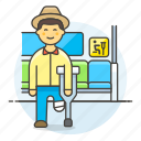 aid, bus, crutch, disability, impairment, inside, male, mobility, priority, seat, sign
