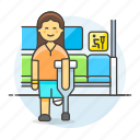 aid, bus, crutch, disability, female, impairment, inside, mobility, priority, seat, sign