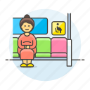 inside, seat, sign, pregnant, woman, pregnancy, priority, bus, disability