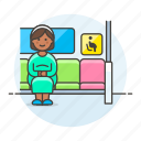 priority, seat, woman, disability, sign, pregnant, inside, bus, pregnancy