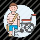 1, 2, artificial, disability, impairment, leg, man, mobility, prosthesis, wheelchair icon
