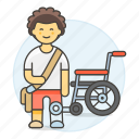 2, artificial, disability, impairment, leg, man, mobility, prosthesis, wheelchair icon