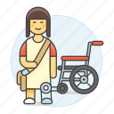 2, artificial, disability, impairment, leg, mobility, prosthesis, wheelchair, woman icon