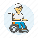 2, aid, disability, impairment, injury, male, mobility, post, recovery, surgery, wheelchair icon