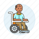 3, aid, disability, impairment, injury, male, mobility, post, recovery, surgery, wheelchair icon