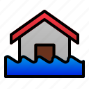 destruction, disaster, ecology, flood, home, nature, water icon