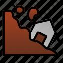 danger, destruction, disaster, environtment, home, landslide, nature icon