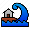 catastrophe, disaster, home, nature, sea, tsunami, wave icon