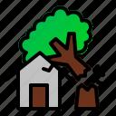 danger, destruction, disaster, fallen, house, nature, tree icon
