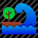 catastrophe, disaster, nature, sea, tree, tsunami, wave