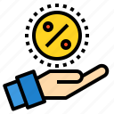 discount, hand, money, percentage, sale, shopping icon