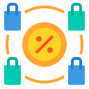 discount, money, percentage, sale, shopping icon