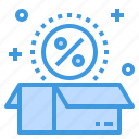 discount, money, package, percentage, sale, shopping icon