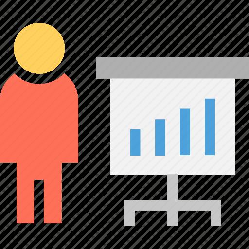 accountant, analyst, analyzer, graph presenter, researcher icon