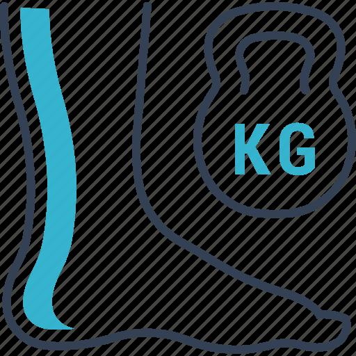 diseases, dumbell, foot, kg icon