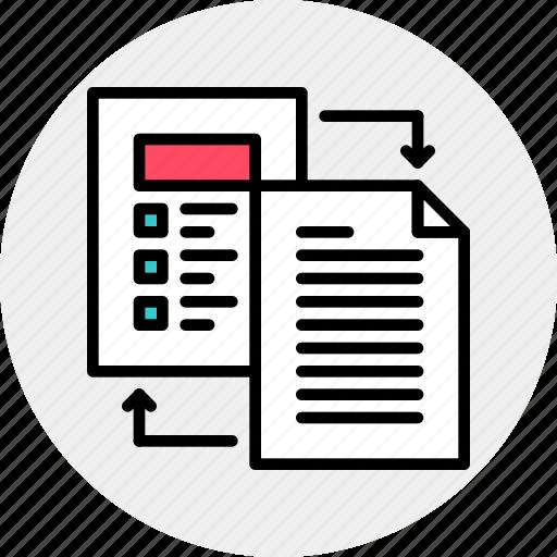 docs, exchange, file icon